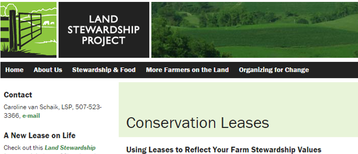 Land Stewardship Project conservation leases web page image