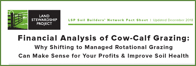 Land Stewardship Project cow-calf grazing fact sheet cover page