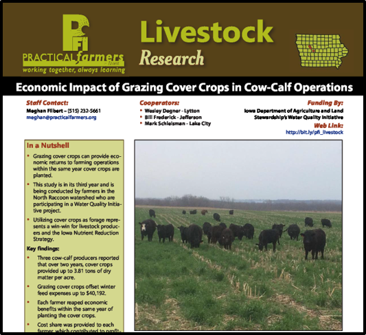 cover image for Practical Farmers of Iowa research bulletin on grazing cover crops in cow-calf operations