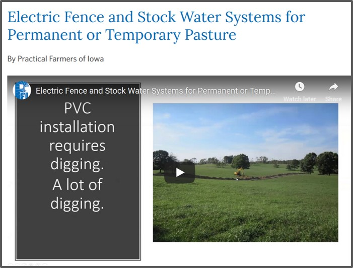 PFI Farminar on fence and water systems