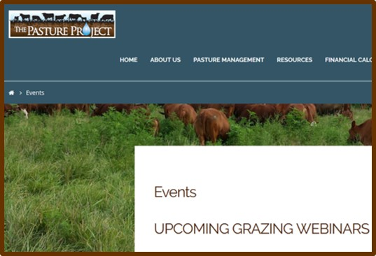 Pasture Project events page featuring webinars