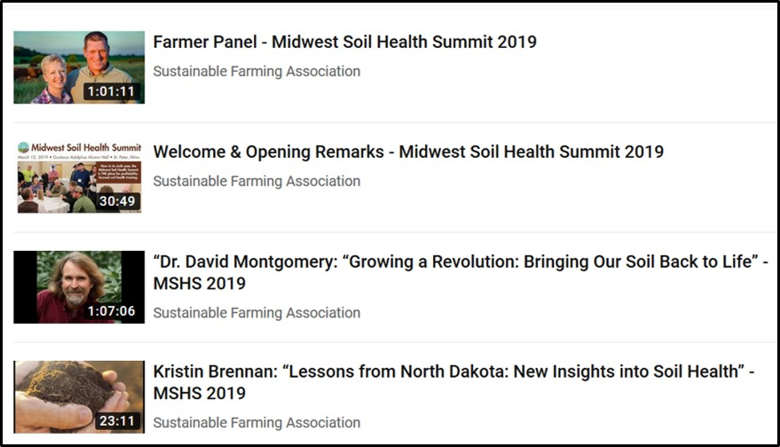 YouTube page for Midwest Soil Health Summit 2019